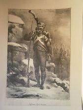 Planche gravure Infanterie lègére Française Voltigeur Nicolas Toussaint Charlet