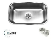"""30"""" Stainless Steel 18 Gauge Undermount Single Bowl Kitchen Sink with Strainer"""