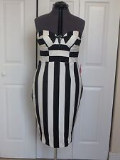 NWT Size 10 Asos Black and White Striped Dress