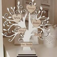 Personalised wooden family tree on stand white shabby chic 15 names NEW
