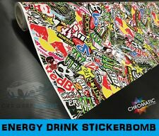 Stickerbomb Car & Bike Wrap 1.52 x 1.5m - Bubble Free Vinyl Foile - Energy Drink