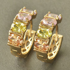 Stunning 9K Solid Gold Filled Multi Colour Crystal WOMENS Hoop Earing