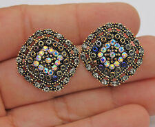 Bohemia Rainbow Crystal Hollow Square Vintage Stud Bead Women Pageant Earrings