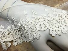 "VINTAGE EMBROIDER CROCHET 4"" NETTING LACE 1yd Scallop Edges Floral Motif IVORY"