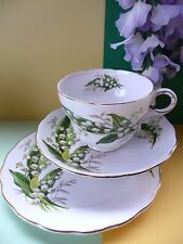 "Vintage melba bone china ""lily of the valley"" tea set trio-tasse soucoupe & plaque"