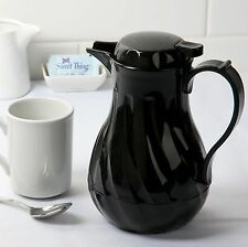 UPDATE INTERNATIONAL SWIRL BLACK THERMAL COFFEE SERVER CARAFE 42 oz PUSH BUTTON