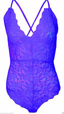 New Womens V Neck Full Lace Cross Back Strappy Plunge Stretch Bodysuit Top 6-14
