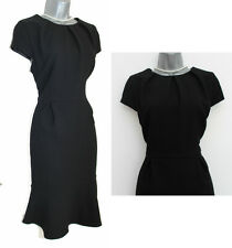 *MONSOON*Black Jacquard Frill Hem Cap Sleeve Knee Length Dress sz-12 EU-40