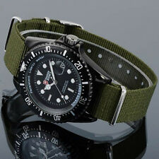 SHARK ARMY Fashion Mens Date Quartz Green Nylon Band Black Wrist Sport Watch+Box