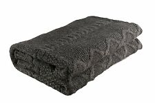 "Charcoal Handmade Aran Style 100% Merino Wool 38""X76"" Blanket Made in Ireland"