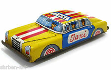 Vintage TAXI Yellow Cab Friction Retro Toy Metal Litho Car Tin  Japan 60's