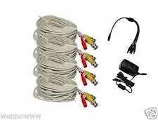 4x White 60ft BNC Cable & 1.2A Power for Security CCTV use / Zmodo /Swann /Qsee