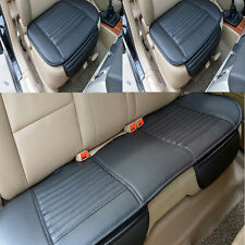 Black Set Universal Bamboo Charcoal Cushion Pad PU Leather Car Rear Seat Cover