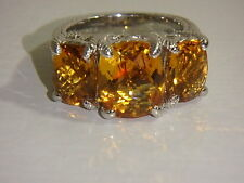 JUDITH RIPKA STERLING CITRINE 3 STONE RING NEW SIZE 7