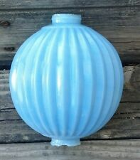 Old Sharp Pleat Lightning Rod Ball Blue Milk Glass Roof Garden Cabin Home Decor