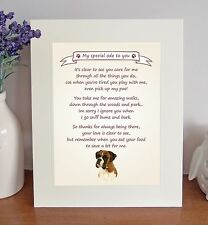 """Boxer 10"""" x 8"""" Free Standing 'Thank You' Poem Fun Novelty Gift FROM THE DOG"""