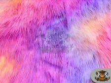 Faux Fur Long Pile Shaggy Rainbow Wave PINK WHITE BACKING Fabric Sold BTY