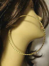 LARGE 3.5 INCH GOLD TONE HOOP EARRINGS TWISTED TIGHT DESIGN FASHION HOOPS