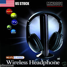 5IN1 Wireless Headphone Casque Audio  Hi-Fi Radio FM TV MP3 MP4 Headset US Stock