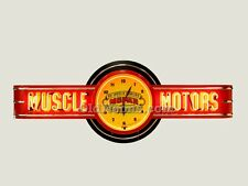 MUSCLE MOTORS MOPAR NEON CLOCK SIGN - 6' LONG -  MADE IN USA! GAS OIL SIGN