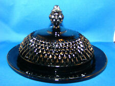Indiana Glass Tiara Black Cameo Diamond Point Oval Butter Dish & Cover @8
