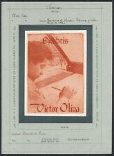 Exlibris Radierung von ALEXANDRE RIQUER (Bercelona) 1903