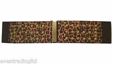 New Ladies Brown Belt Tiger Print Wide Elastic