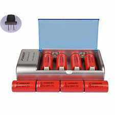 8x C Size 10000mAh 1.2V Red Rechargeable Battery Cell + AA AAA 9V C D Charg