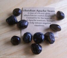 APACHE TEARS 12mm x 14mm - PACK 10 GENUINE NATURAL APACHE TEARS WITH POUCH