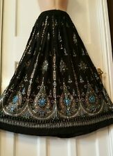 Ladies Indian  Hippie Long Sequin Skirt Rayon in BLACK colour with blue inset