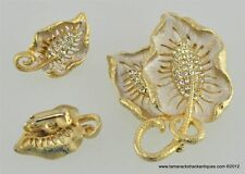 Vintage White Rhinestone Brooch Pin Clip Earrings Set Gold Toned Colored Leaf