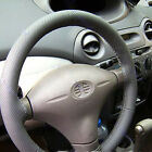 Gray PU Leather DIY Hand Sewing Car Steering Wheel Cover With Needles and Thread