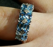 Swiss Blue & White Topaz  2.68ct.Solid Sterling Silver Ring.Size L-M Hallmarked