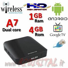 ANDROID BOX NILOX DUAL CORE MKV WIRELESS ETHERNET LAN TELECOMANDO TV SMART HD