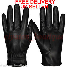 UNISEX LADIES MENS LEATHER GLOVES FLEECE LINED THERMAL SOFT WINTER WARM DRIVING