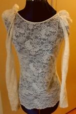 NWOT WILFRED Aritzia beige lace long sleeve low back scalloped tunic top M
