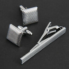 Men's Cuff Links Cufflinks Wedding Novelty Silver Gift +  Twill Necktie Clip Set