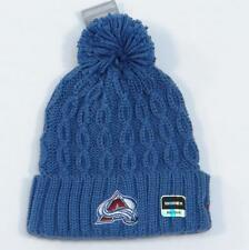 Reebok Avalanche NHL Blue Cable Knit Cuff Pom Pom Beanie Womans One Size NWT