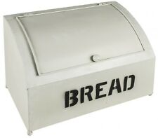 Vintage Industrial Retro Antique White Bread Bin Black Typography NEW Kitchen