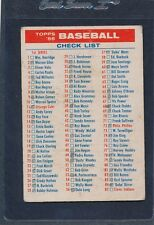 1956 Topps #NNO Checklist Fair (Marked) 56TNNO-92115-5