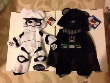 Build A Bear Star Wars Darth Vader Storm Trooper Bear UNSTUFFED Plush Lot Set