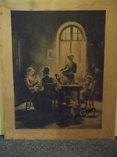 Ancien VALLAYER MOUTET Lithographie LA FAMILLE HEUREUSE