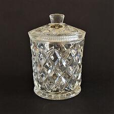 VINTAGE BOHEMIA (CZECHOSLOVAKIA) LABELED CRYSTAL GLASS LIDDED BISCUIT BARREL