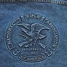 National Rifle Association NRA Jean Trucker Jacket Large Embossed Denim Tyca