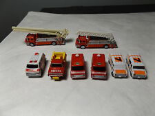 1986-9 MICRO MACHINES 8 FIRE & EMERGENCY VEHICLES,LADDER TRUCK,AMBULANCE,RESCUE