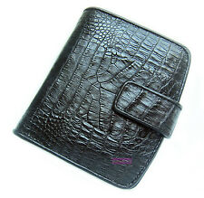 BLACK GENUINE CROCODILE BELLY SKIN LEATHER LADIES WALLET