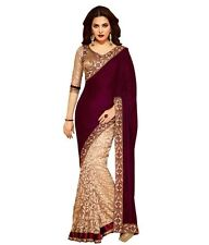 Bollywood Indian Partywear Velvet Saree Designer Ethnic New Pakistani Sari