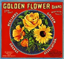 Redlands Golden Flower Rose Poppy Flowers Orange Citrus Fruit Crate Label Print