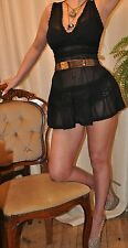 "CELEB BLACK SHEER  MINI DRESS ""DENNY ROSE""  LACE & RUFFLES AMY WINEHOUSE 6 8 10"