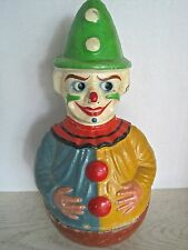 Antique German Paper Mache Schoehut Roly Poly Circus Clown Toy Moving Googly Eye